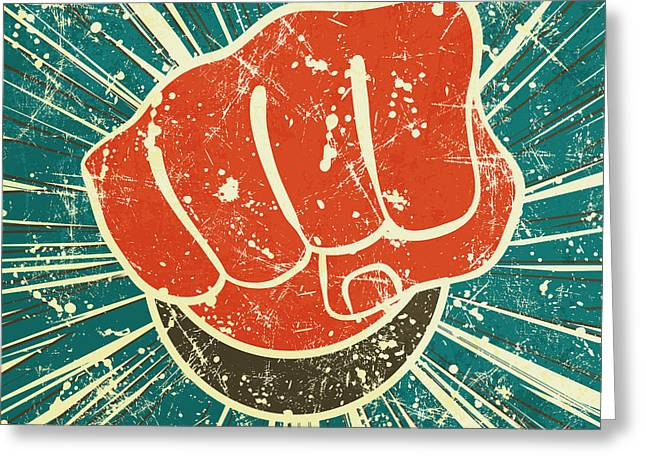 The Punch Fist Of Red Color On A Greeting Card by Verbena