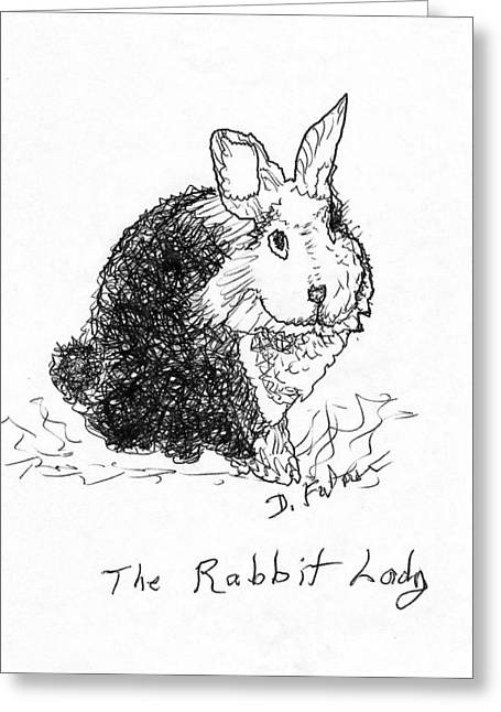 The Rabbit Lady Drawing Greeting Card