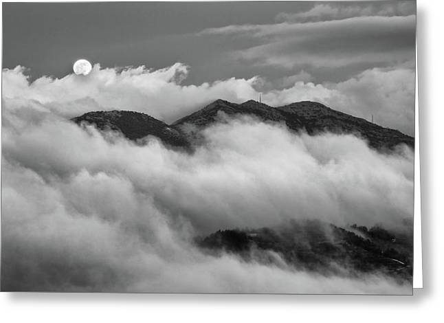 Greeting Card featuring the photograph The Rising Of Full Moon by Michalakis Ppalis