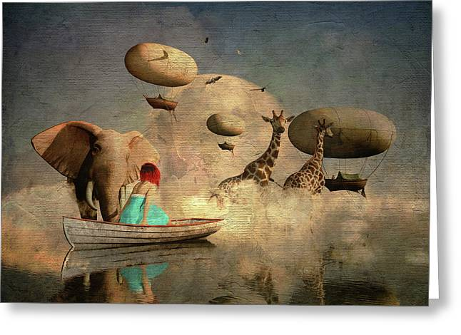 Greeting Card featuring the digital art The Run Of The Animals To The Ark by Jan Keteleer
