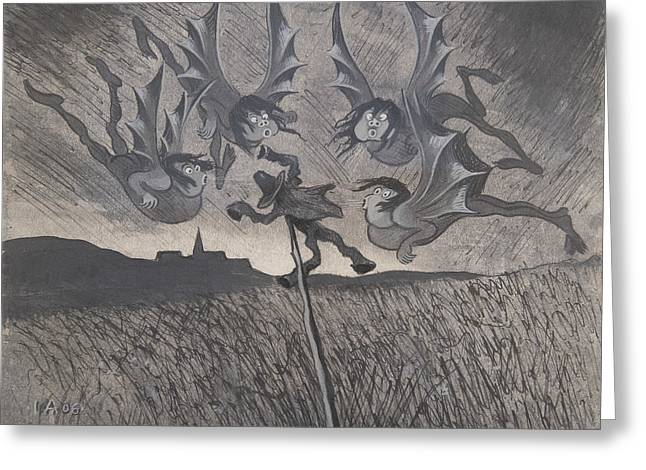 Greeting Card featuring the drawing The Scarecrow And The Four Winds by Ivar Arosenius