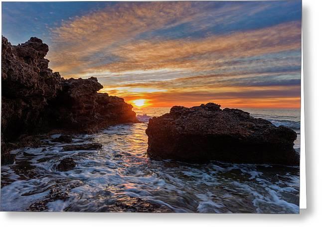 The Sea In Oropesa At Sunrise On The Orange Blossom Coast Greeting Card