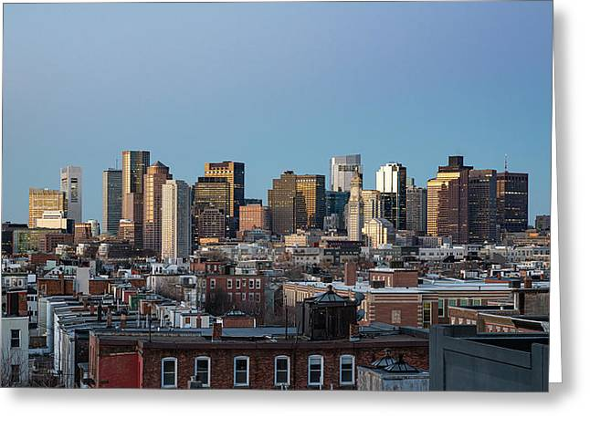 The Skyline Of Boston In Massachusetts, Usa On A Clear Winter Ev Greeting Card
