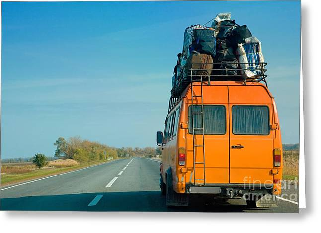 The Small Bus With Bags On A Roof Greeting Card