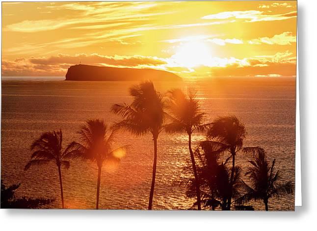 The Sun Sets Behind Molokini Greeting Card
