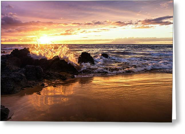 The Sun Sets With An Ocean Splash Greeting Card