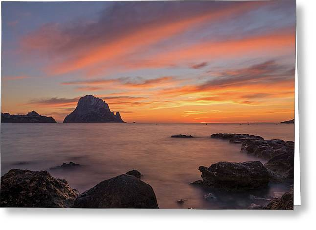 The Sunset On The Island Of Es Vedra, Ibiza Greeting Card