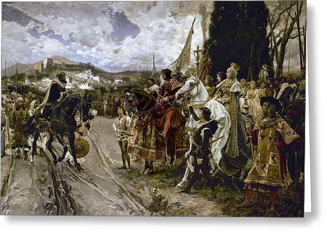 The Surrender Of Granada In 1492 - 19th Century - Oil On Canvas. Francisco Pradilla Y Ortiz . Greeting Card
