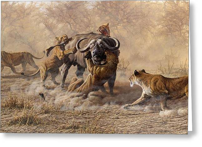 Greeting Card featuring the painting The Take Down - Lions Attacking Cape Buffalo by Alan M Hunt