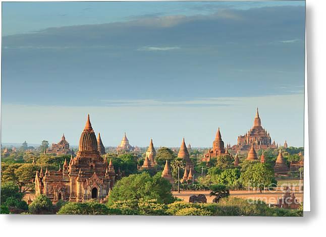 The Temples Of Bagan At Sunrise, Bagan Greeting Card
