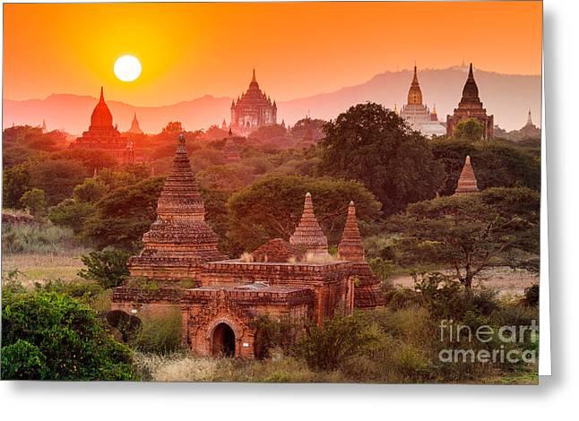 The  Temples Of Baganpagan, Mandalay Greeting Card
