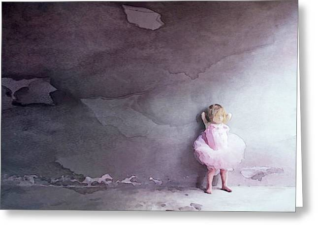 Greeting Card featuring the mixed media Pink Tutu by Susan Maxwell Schmidt