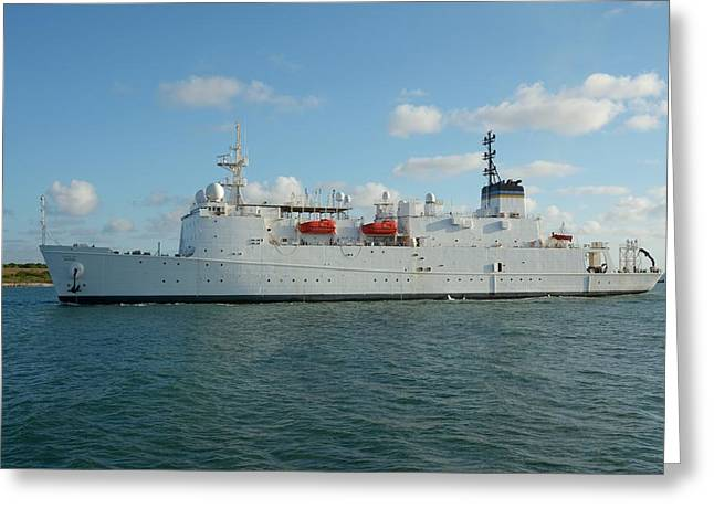 Greeting Card featuring the photograph The Usns Waters Enters Port Canaveral.  by Bradford Martin