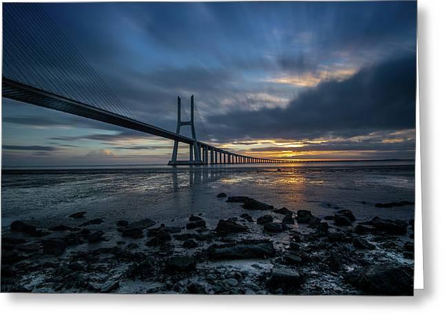 Greeting Card featuring the photograph The Vasco Da Cama Bridge In Lisbon Portugal by Michalakis Ppalis