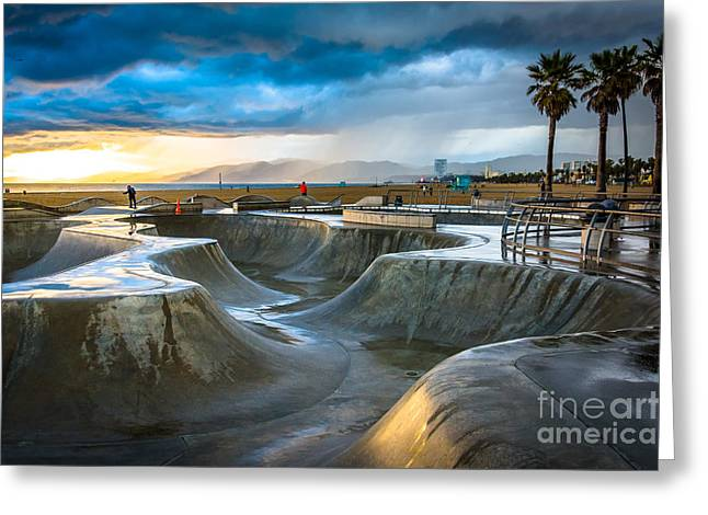 The Venice Skate Park At Sunset, In Greeting Card