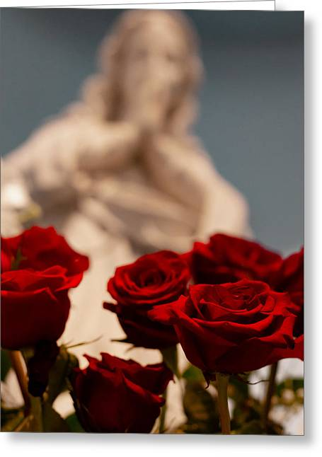 The Virgin With Roses Greeting Card by Christine Buckley