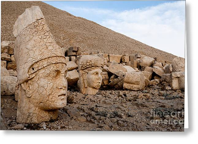 The West Terrace Of Mount Nemrut With Greeting Card