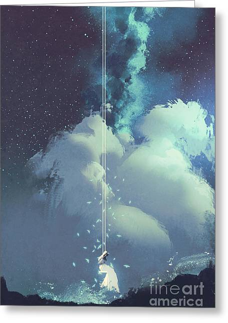 The Woman On A Swing Under The Night Greeting Card