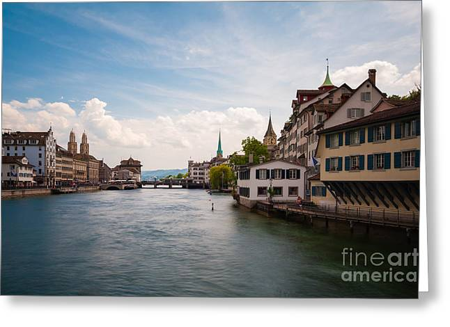 The Zurich Cityscape. Switzerland Greeting Card