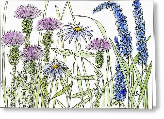 Thistle Asters Blue Flower Watercolor Wildflower Greeting Card