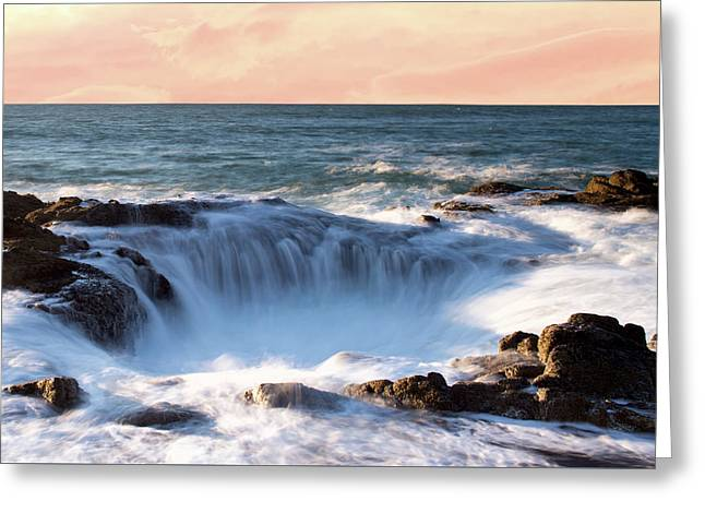 Greeting Card featuring the photograph Thor's Well Sunset 1115 by Rospotte Photography