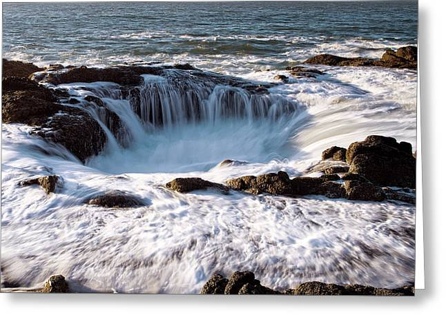 Greeting Card featuring the photograph Thor's Well Yachats Oregon 102518 by Rospotte Photography