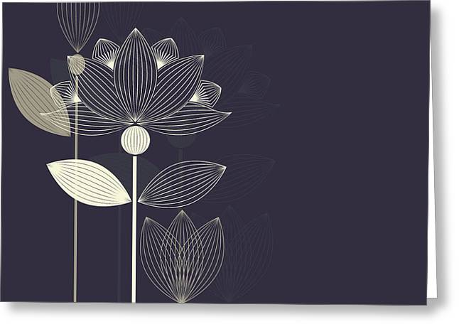 Three Abstract Lotus Flower On The Dark Greeting Card
