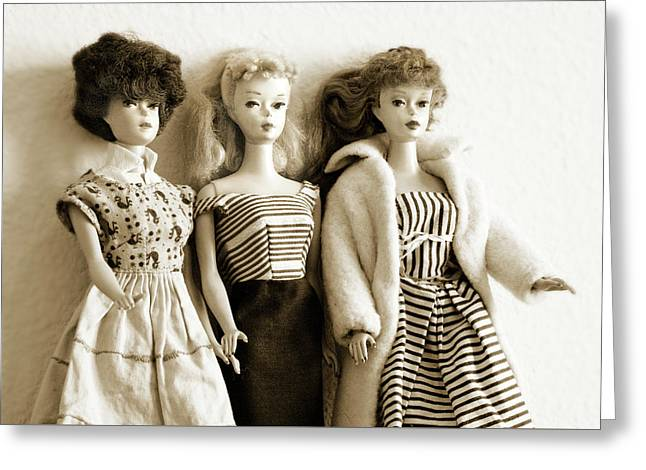 Three Barbies Vintage Greeting Card