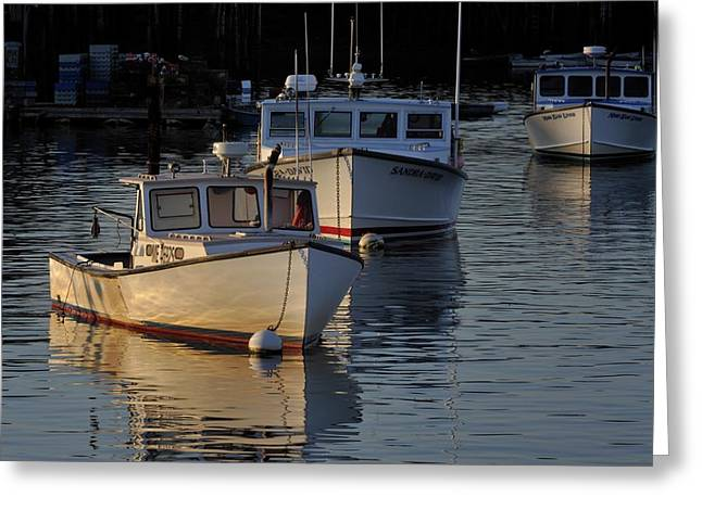 Three Boats In Maine Greeting Card