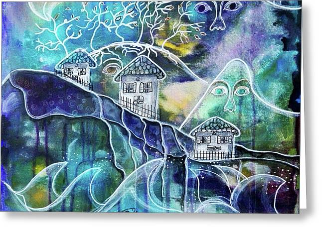 Three Houses On A Cliff Greeting Card