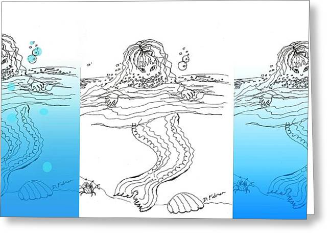 Three Mermaids All In A Row Greeting Card