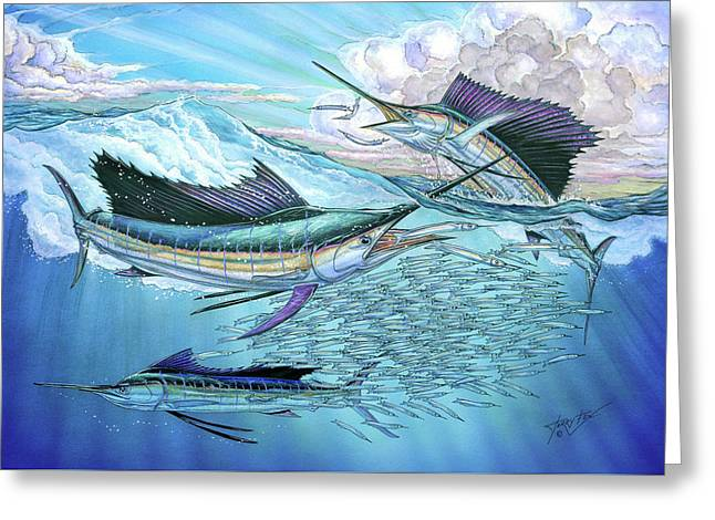 Three Sailfish And Bait Ball Greeting Card