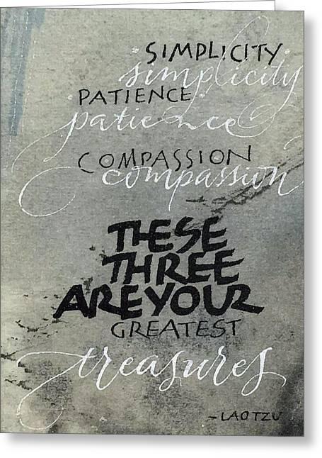 Three Treasures Greeting Card