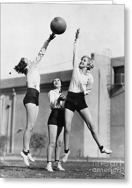 Three Women With Basketball In The Air Greeting Card