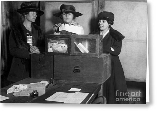 Three Womens Suffragists Casting Votes Greeting Card