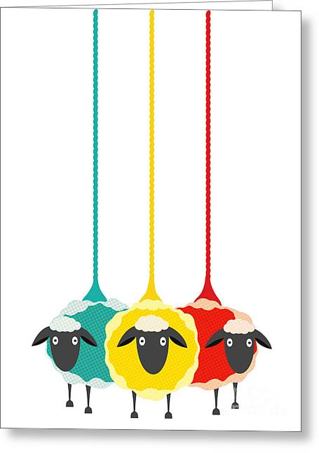 Three Yarn Sheep. Vector Eps10 Graphic Greeting Card by Popmarleo