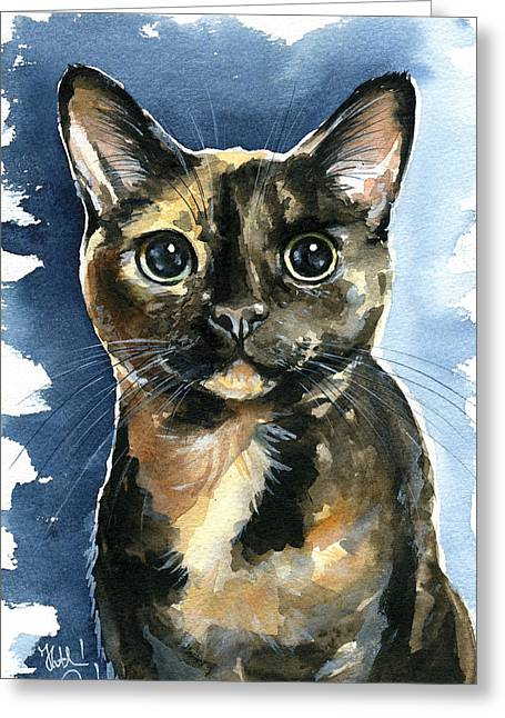 Tiffany Tortoiseshell Cat Painting Greeting Card