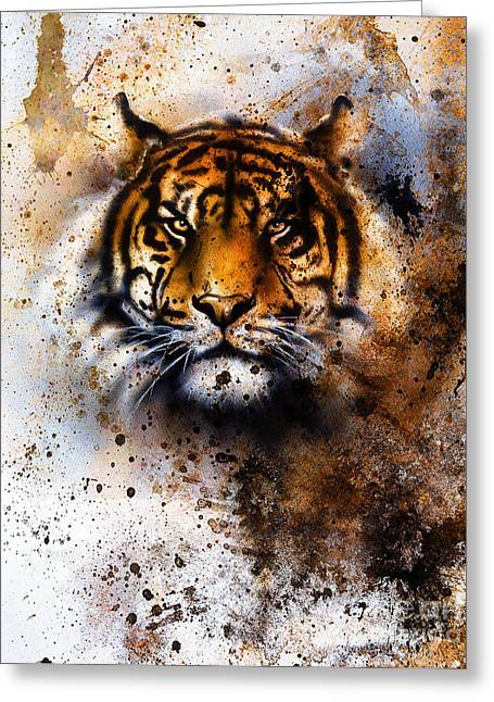 Tiger Collage On Color Abstract Greeting Card