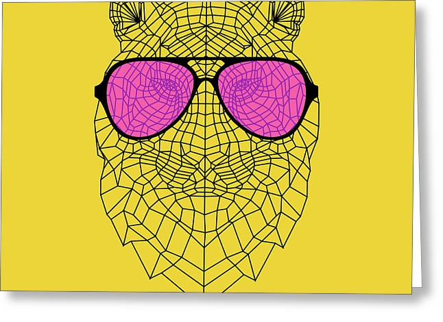 Tiger In Pink Glasses Greeting Card
