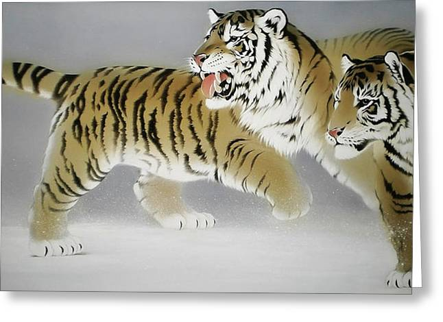 Tigers In Twilight Greeting Card