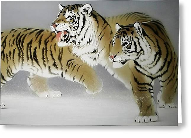 Tigers In Twilight Greeting Card