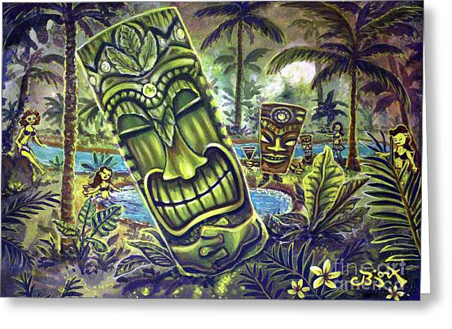 Tiki Genie's Sacred Pools Greeting Card