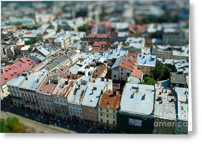 Tilt Shift  Lviv Town Roof In Ukraine Greeting Card