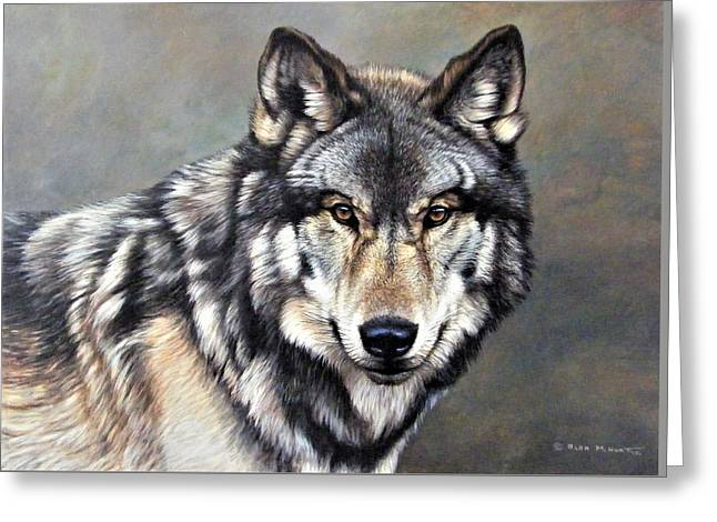 Greeting Card featuring the painting Timber Wolf By Alan M Hunt by Alan M Hunt