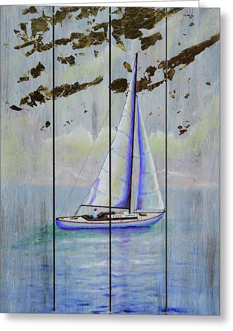 Greeting Card featuring the painting Time To Sail by Mary Scott