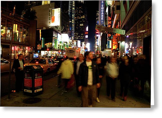 Greeting Card featuring the photograph Time Square, Two by Edward Lee
