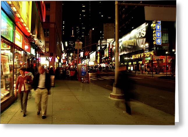 Greeting Card featuring the photograph Time Square, One by Edward Lee