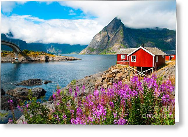 Tipical Red Fishing Houses In A Harbor Greeting Card