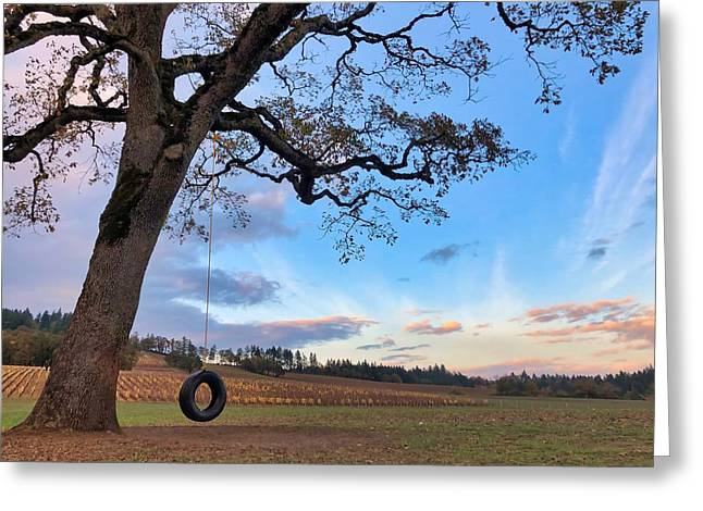 Tire Swing Tree Greeting Card