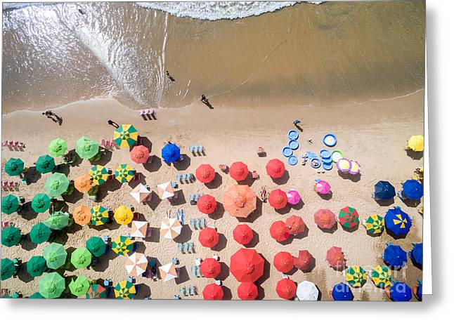 Top View Of Umbrellas In A Beach Greeting Card